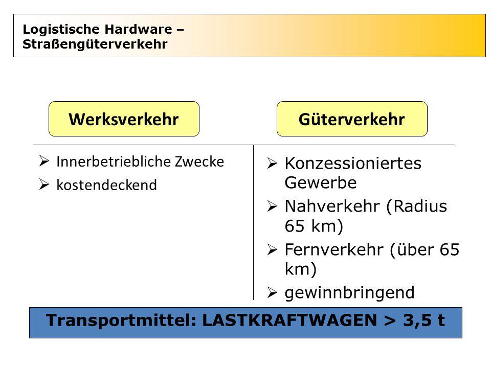 Logistische Hardware – Straßengüterverkehr  Innerbetriebliche Zwecke  kostendeckend WerksverkehrGüterverkehr  Konzessioniertes Gewerbe  Nahverkehr