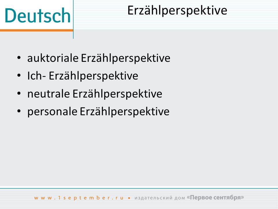 Erzählperspektive auktoriale Erzählperspektive Ich- Erzählperspektive neutrale Erzählperspektive personale Erzählperspektive