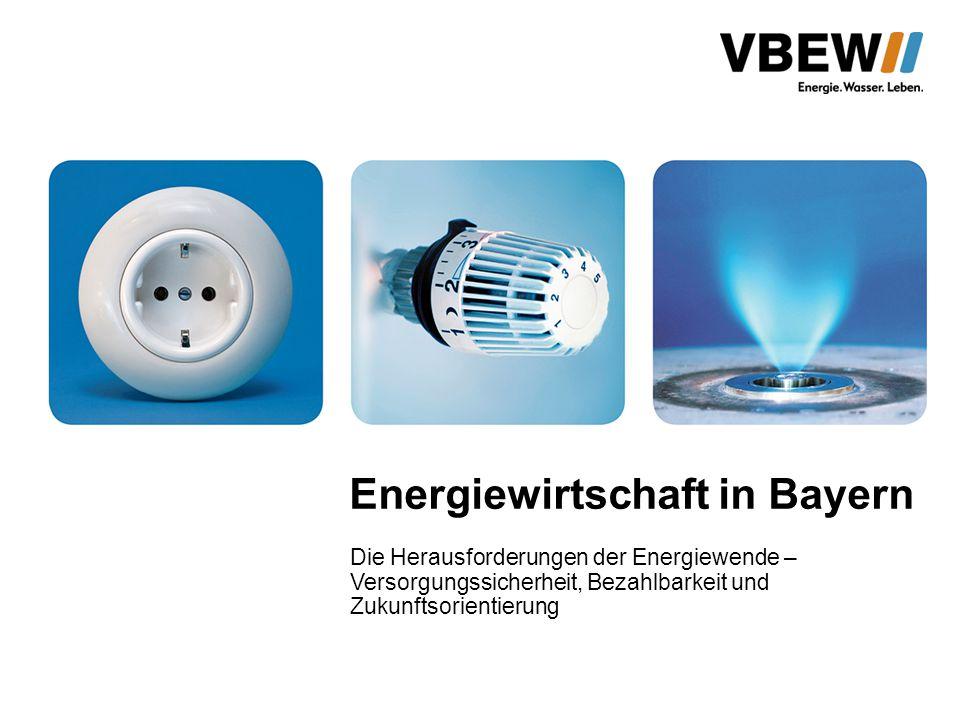 Ziele des bayerischen Energiekonzepts 2011 Ersatz der Kernenergie durch erneuerbare Energien (50 % des Strom- verbrauchs bis 2021) Verstärkter Einsatz von Erdgas in 5 neuen großen Erdgaskraftwerken Weitgehende Erzeugung in Bayern, um nicht auf Stromimporte angewiesen zu sein Konkret erfordert dies Ausbau der erneuerbaren Energien - die Kosten werden bis 2030 bundesweit auf mehrere hundert Mrd.