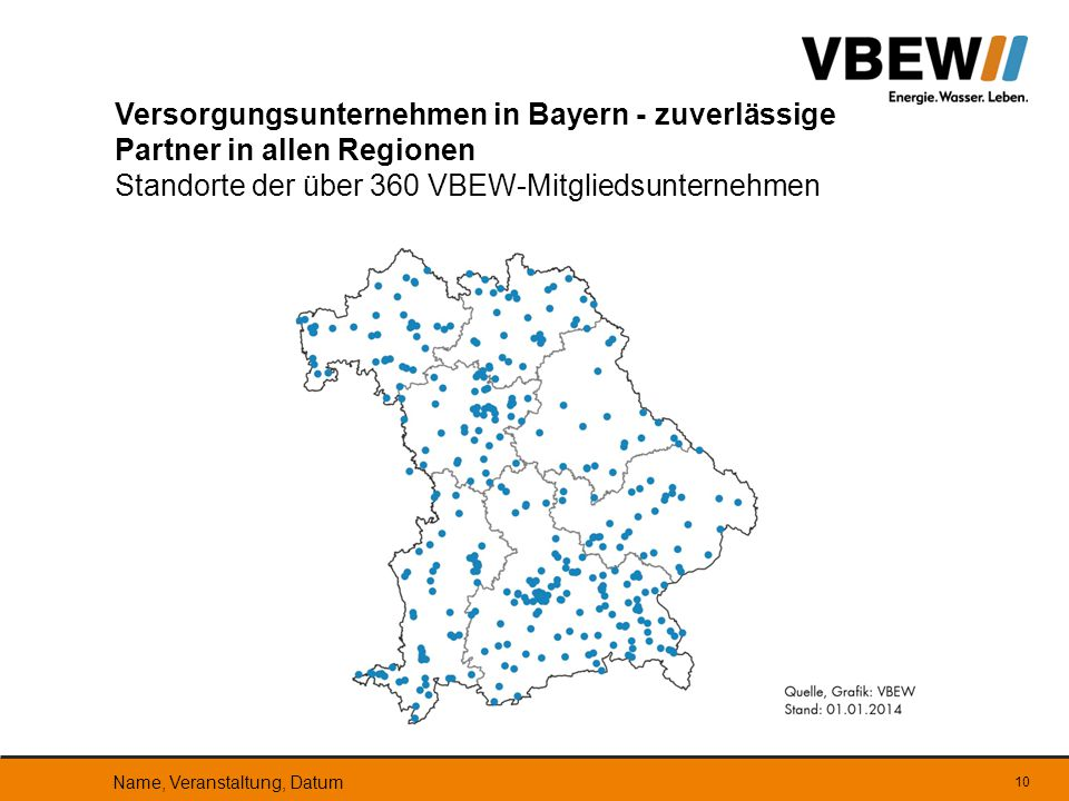 Versorgungsunternehmen in Bayern - zuverlässige Partner in allen Regionen Standorte der über 360 VBEW-Mitgliedsunternehmen Name, Veranstaltung, Datum