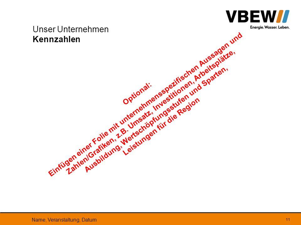 11 Optional: Einfügen einer Folie mit unternehmensspezifischen Aussagen und Zahlen/Grafiken, z.B. Umsatz, Investitionen, Arbeitsplätze, Ausbildung, We