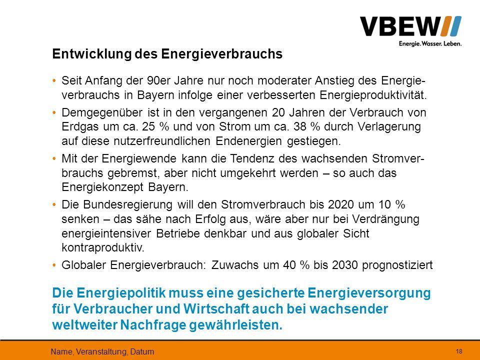 Seit Anfang der 90er Jahre nur noch moderater Anstieg des Energie- verbrauchs in Bayern infolge einer verbesserten Energieproduktivität. Demgegenüber