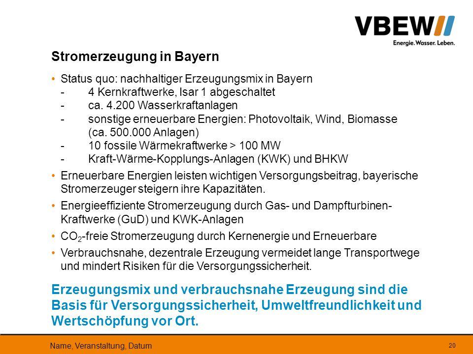 Status quo: nachhaltiger Erzeugungsmix in Bayern -4 Kernkraftwerke, Isar 1 abgeschaltet -ca. 4.200 Wasserkraftanlagen -sonstige erneuerbare Energien: