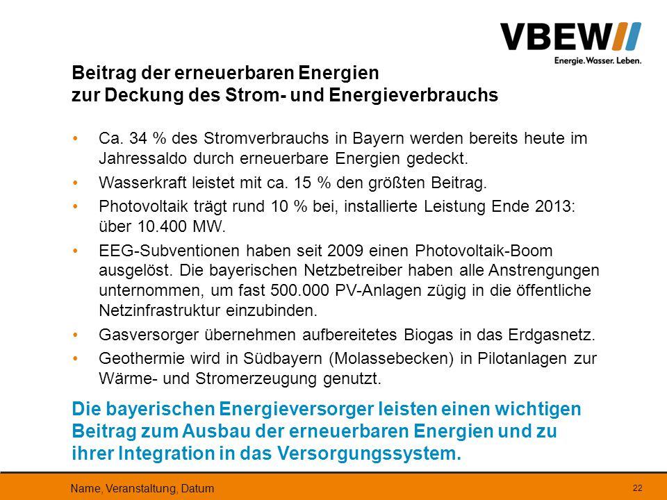 Ca. 34 % des Stromverbrauchs in Bayern werden bereits heute im Jahressaldo durch erneuerbare Energien gedeckt. Wasserkraft leistet mit ca. 15 % den gr