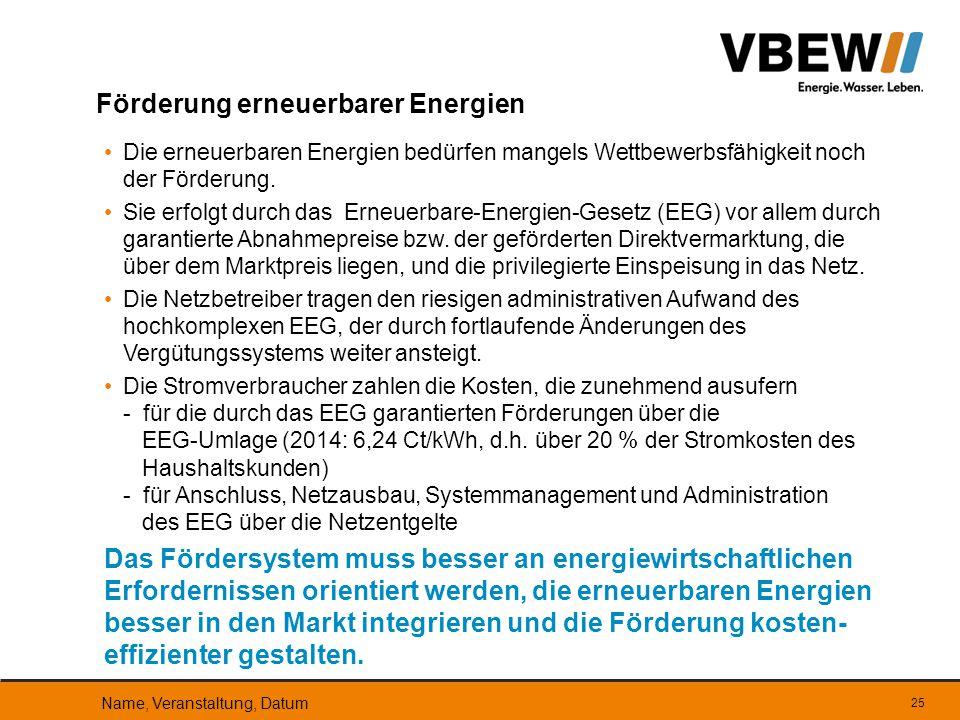 Die erneuerbaren Energien bedürfen mangels Wettbewerbsfähigkeit noch der Förderung. Sie erfolgt durch das Erneuerbare-Energien-Gesetz (EEG) vor allem