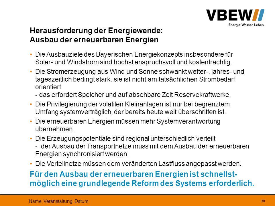 Die Ausbauziele des Bayerischen Energiekonzepts insbesondere für Solar- und Windstrom sind höchst anspruchsvoll und kostenträchtig. Die Stromerzeugung