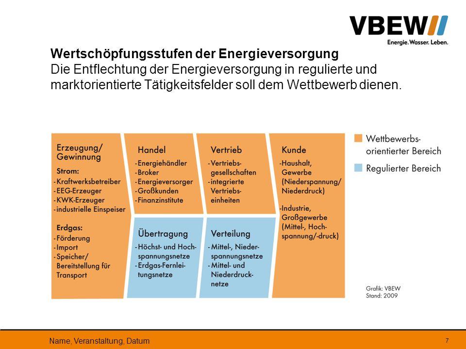 7 Wertschöpfungsstufen der Energieversorgung Die Entflechtung der Energieversorgung in regulierte und marktorientierte Tätigkeitsfelder soll dem Wettb