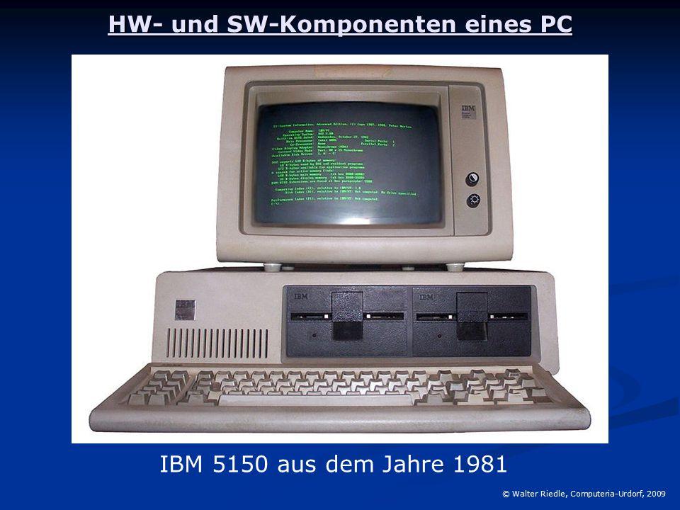 HW- und SW-Komponenten eines PC © Walter Riedle, Computeria-Urdorf, 2009 IBM 5150 aus dem Jahre 1981
