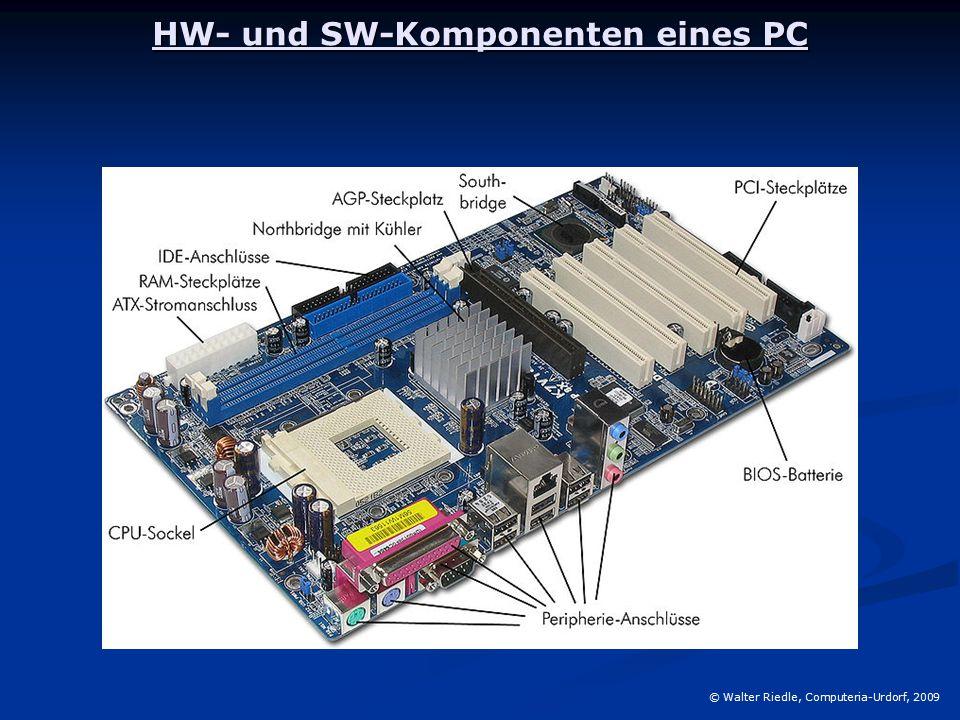 Der Prozessor (CPU = central processing unit) © Walter Riedle, Computeria-Urdorf, 2009 Er ist das eigentliche Rechenwerk, das arithmetische und logische Operationen ausführen kann.