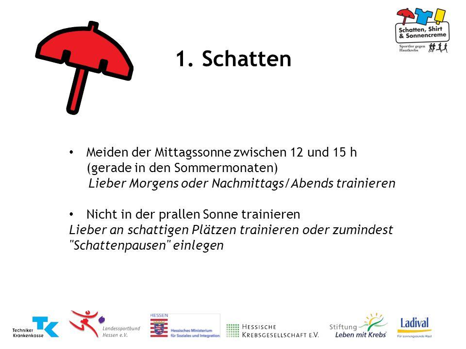1. Schatten Meiden der Mittagssonne zwischen 12 und 15 h (gerade in den Sommermonaten) Lieber Morgens oder Nachmittags/Abends trainieren Nicht in der