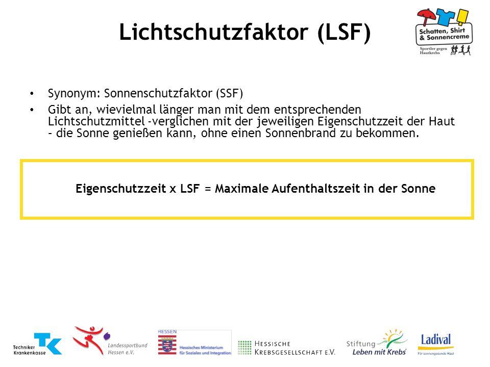 Synonym: Sonnenschutzfaktor (SSF) Gibt an, wievielmal länger man mit dem entsprechenden Lichtschutzmittel -verglichen mit der jeweiligen Eigenschutzze
