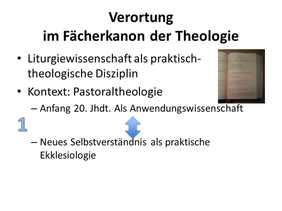 Verortung im Fächerkanon der Theologie Liturgiewissenschaft als praktisch- theologische Disziplin Kontext: Pastoraltheologie – Anfang 20. Jhdt. Als An