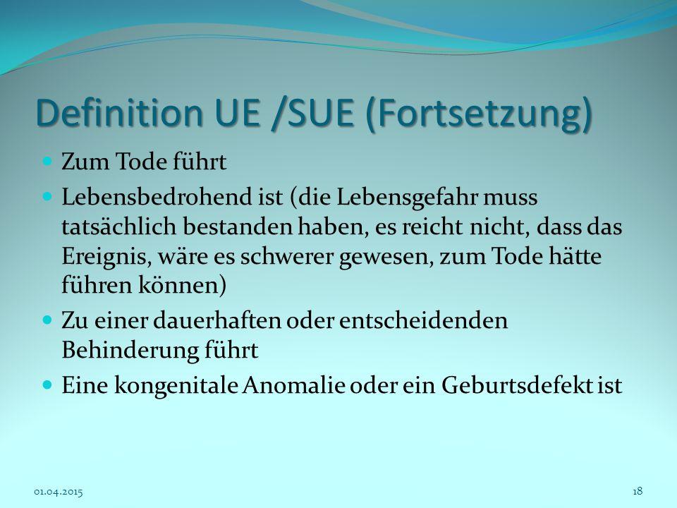Definition UE /SUE (Fortsetzung) Zum Tode führt Lebensbedrohend ist (die Lebensgefahr muss tatsächlich bestanden haben, es reicht nicht, dass das Erei