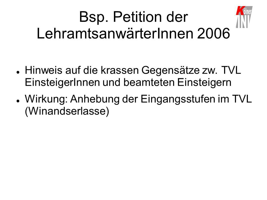 Bsp. Petition der LehramtsanwärterInnen 2006 Hinweis auf die krassen Gegensätze zw. TVL EinsteigerInnen und beamteten Einsteigern Wirkung: Anhebung de