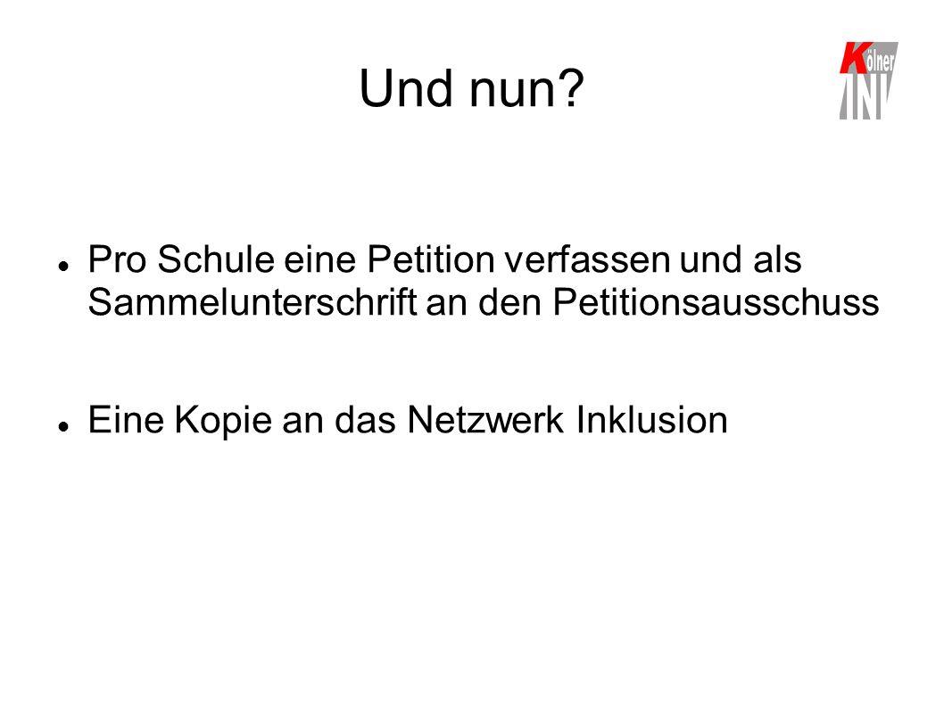 Und nun? Pro Schule eine Petition verfassen und als Sammelunterschrift an den Petitionsausschuss Eine Kopie an das Netzwerk Inklusion