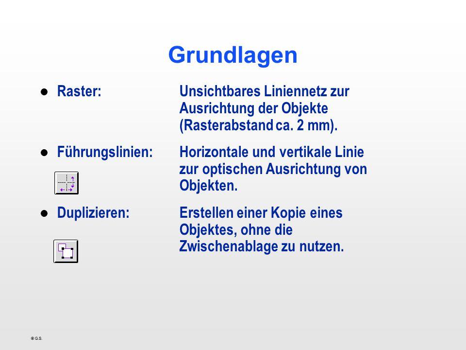 © G.S. Grundlagen l Raster:Unsichtbares Liniennetz zur Ausrichtung der Objekte (Rasterabstand ca. 2 mm). l Führungslinien:Horizontale und vertikale Li