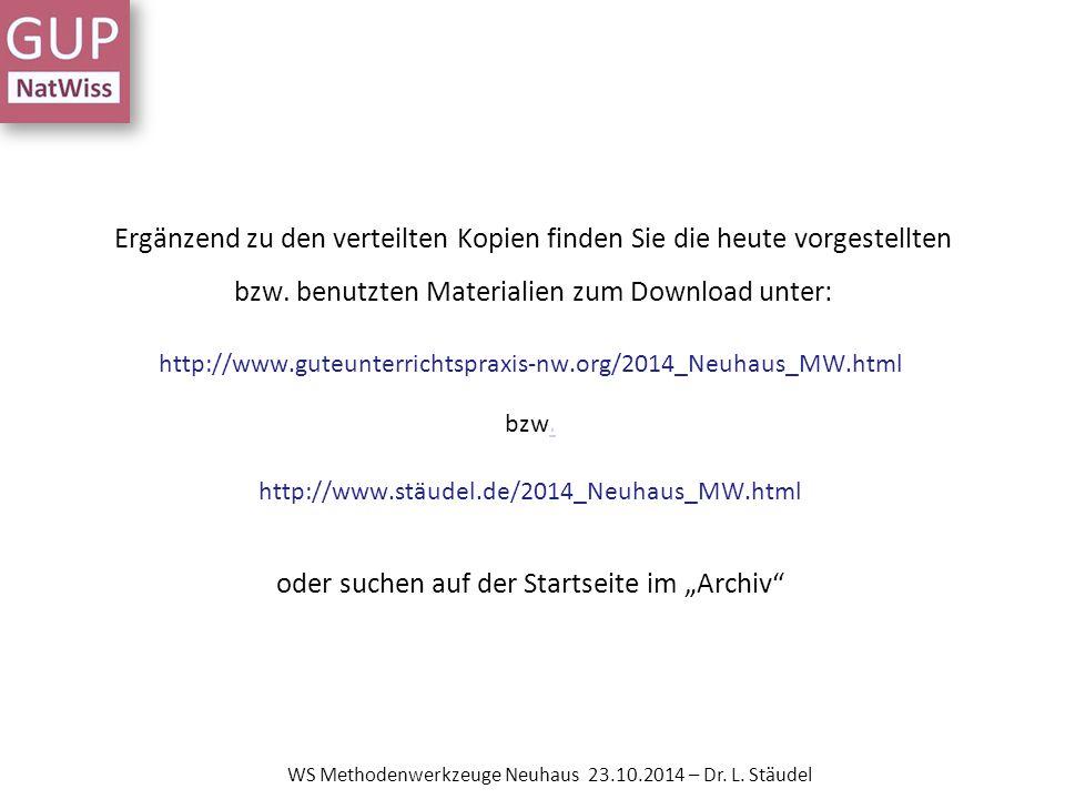 Methodenwerkzeuge Neue Beispiele Medienportal der Siemens Stiftung DFU- Materialien zum Projekt Experimento 10+ WS Methodenwerkzeuge Neuhaus 23.10.2014 – Dr.