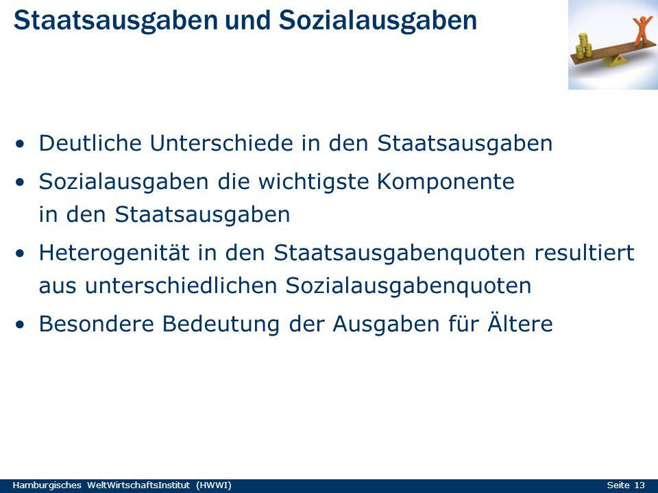 Staatsausgaben und Sozialausgaben Hamburgisches WeltWirtschaftsInstitut (HWWI) Seite 13 Deutliche Unterschiede in den Staatsausgaben Sozialausgaben di