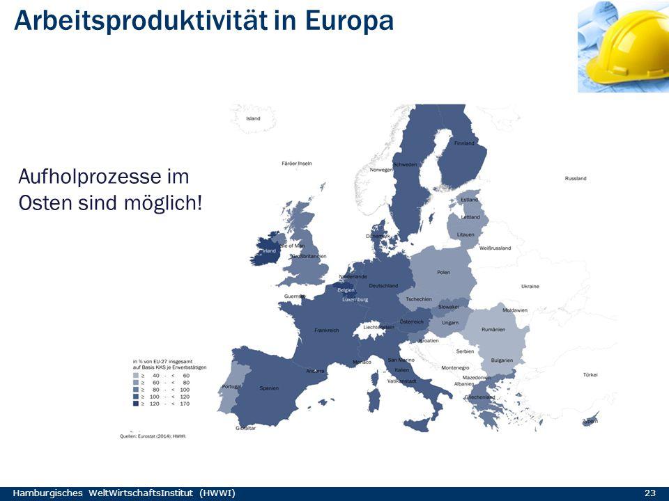 Arbeitsproduktivität in Europa Hamburgisches WeltWirtschaftsInstitut (HWWI) 23 Aufholprozesse im Osten sind möglich!
