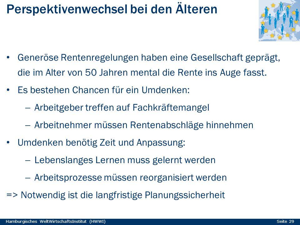 Perspektivenwechsel bei den Älteren Hamburgisches WeltWirtschaftsInstitut (HWWI) Seite 29 Generöse Rentenregelungen haben eine Gesellschaft geprägt, d