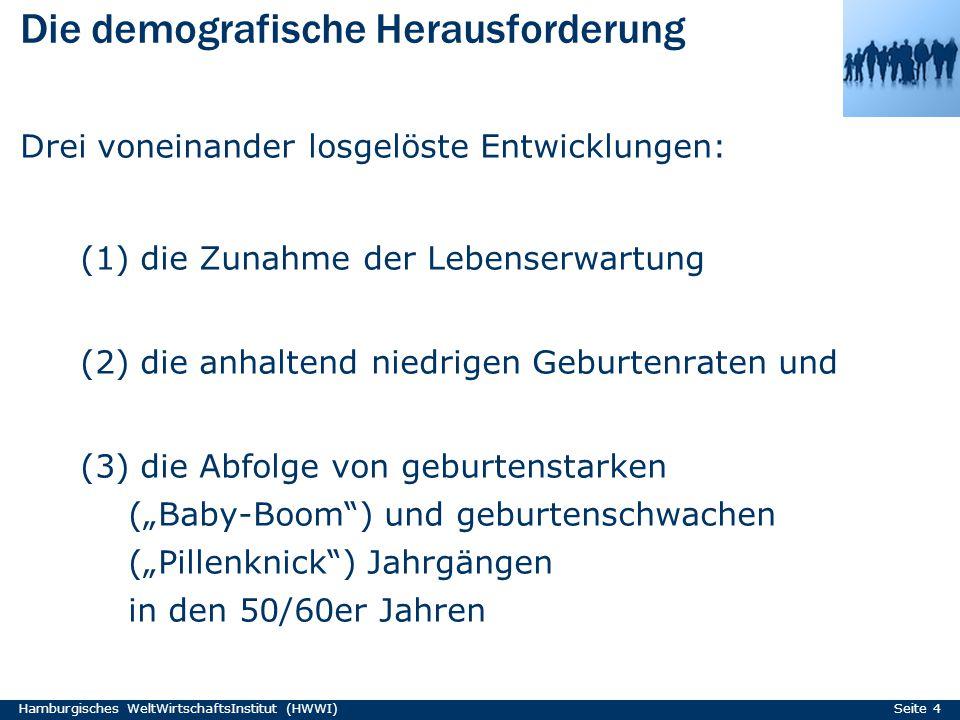 Die demografische Herausforderung Hamburgisches WeltWirtschaftsInstitut (HWWI) Seite 4 Drei voneinander losgelöste Entwicklungen: (1) die Zunahme der