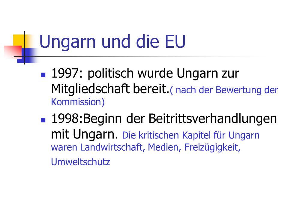Ungarn und die EU 1997: politisch wurde Ungarn zur Mitgliedschaft bereit. ( nach der Bewertung der Kommission) 1998:Beginn der Beitrittsverhandlungen