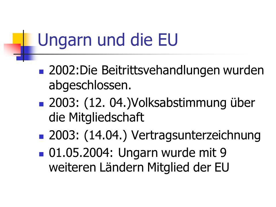 Ungarn und die EU 2002:Die Beitrittsvehandlungen wurden abgeschlossen. 2003: (12. 04.)Volksabstimmung über die Mitgliedschaft 2003: (14.04.) Vertragsu