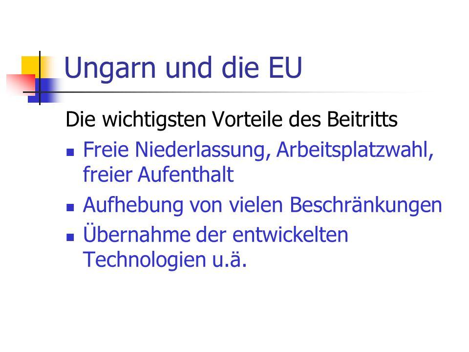 Ungarn und die EU Die wichtigsten Vorteile des Beitritts Freie Niederlassung, Arbeitsplatzwahl, freier Aufenthalt Aufhebung von vielen Beschränkungen