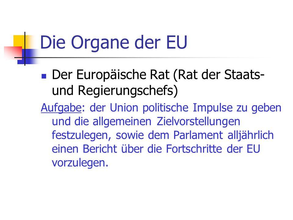 Die Organe der EU Der Europäische Rat (Rat der Staats- und Regierungschefs) Aufgabe: der Union politische Impulse zu geben und die allgemeinen Zielvor