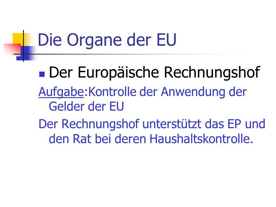 Die Organe der EU Der Europäische Rechnungshof Aufgabe:Kontrolle der Anwendung der Gelder der EU Der Rechnungshof unterstützt das EP und den Rat bei d