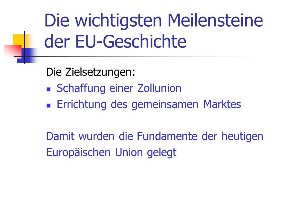 Die wichtigsten Meilensteine der EU-Geschichte Die Zielsetzungen: Schaffung einer Zollunion Errichtung des gemeinsamen Marktes Damit wurden die Fundam