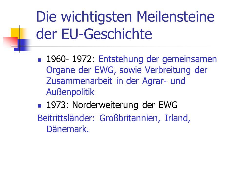 Die wichtigsten Meilensteine der EU-Geschichte 1960- 1972: Entstehung der gemeinsamen Organe der EWG, sowie Verbreitung der Zusammenarbeit in der Agra