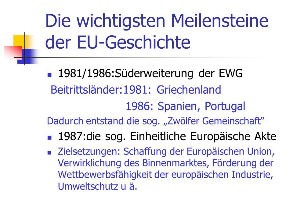 Die wichtigsten Meilensteine der EU-Geschichte 1981/1986:Süderweiterung der EWG Beitrittsländer:1981: Griechenland 1986: Spanien, Portugal Dadurch ent