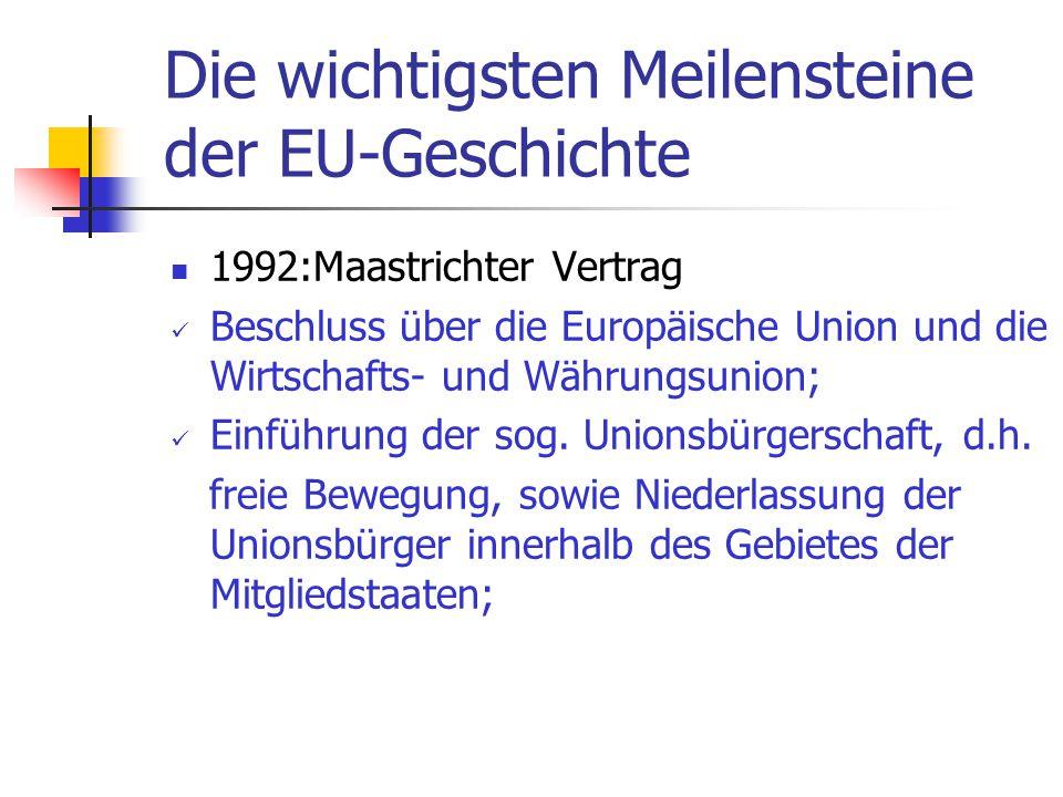 Die wichtigsten Meilensteine der EU-Geschichte 1992:Maastrichter Vertrag Beschluss über die Europäische Union und die Wirtschafts- und Währungsunion;