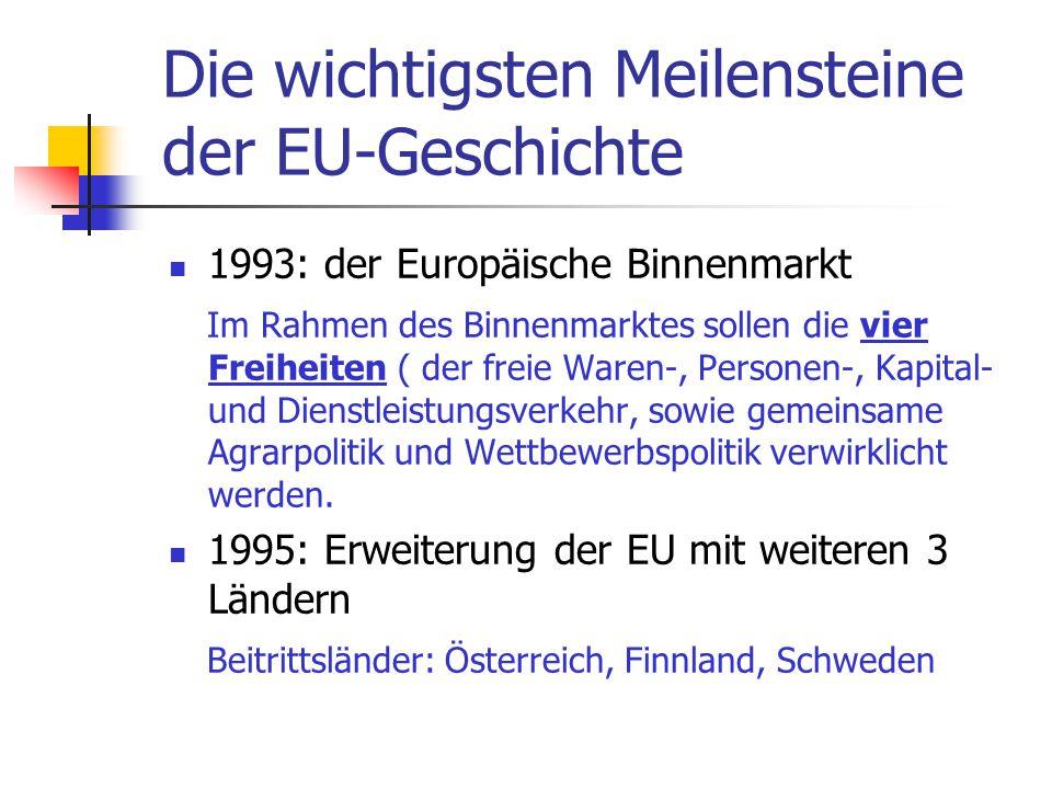 Die wichtigsten Meilensteine der EU-Geschichte 1993: der Europäische Binnenmarkt Im Rahmen des Binnenmarktes sollen die vier Freiheiten ( der freie Wa