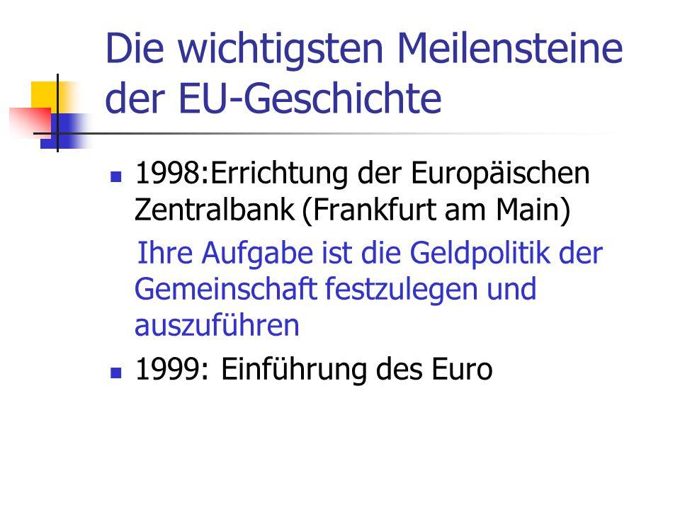 Die wichtigsten Meilensteine der EU-Geschichte 1998:Errichtung der Europäischen Zentralbank (Frankfurt am Main) Ihre Aufgabe ist die Geldpolitik der G