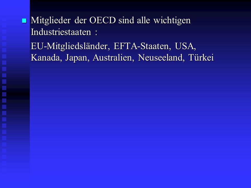 Mitglieder der OECD sind alle wichtigen Industriestaaten : Mitglieder der OECD sind alle wichtigen Industriestaaten : EU-Mitgliedsländer, EFTA-Staaten