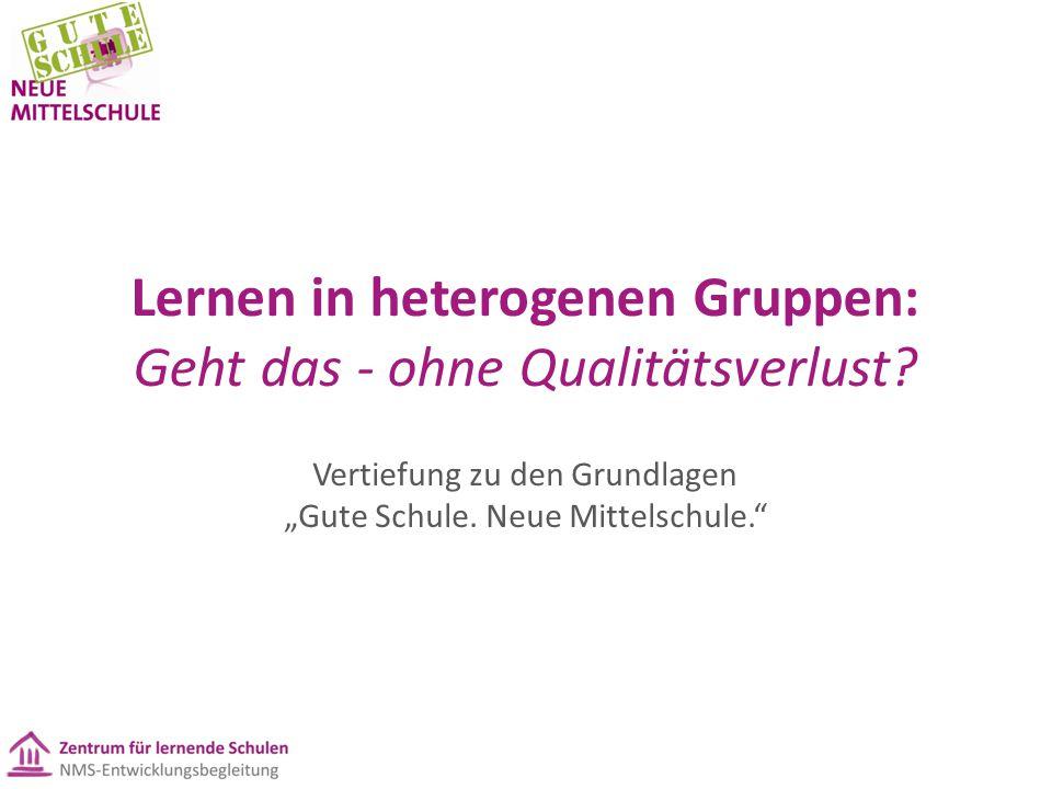 """Lernen in heterogenen Gruppen: Geht das - ohne Qualitätsverlust? Vertiefung zu den Grundlagen """"Gute Schule. Neue Mittelschule."""""""