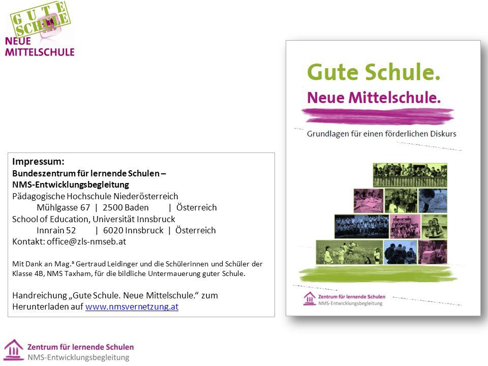 Impressum: Bundeszentrum für lernende Schulen – NMS-Entwicklungsbegleitung Pädagogische Hochschule Niederösterreich Mühlgasse 67 | 2500 Baden | Österr