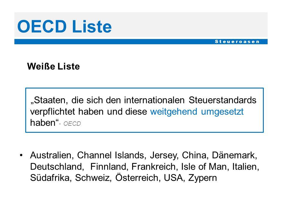 """OECD Liste S t e u e r o a s e n Weiße Liste """"Staaten, die sich den internationalen Steuerstandards verpflichtet haben und diese weitgehend umgesetzt"""