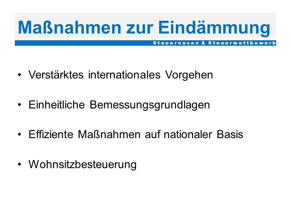Maßnahmen zur Eindämmung Verstärktes internationales Vorgehen Einheitliche Bemessungsgrundlagen Effiziente Maßnahmen auf nationaler Basis Wohnsitzbest
