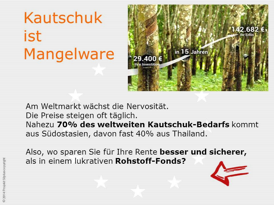 © 2014 Projekt 50plus copyright Kautschuk ist Mangelware Am Weltmarkt wächst die Nervosität.