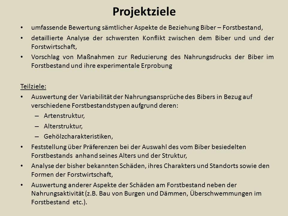 Projektziele umfassende Bewertung sämtlicher Aspekte de Beziehung Biber – Forstbestand, detaillierte Analyse der schwersten Konflikt zwischen dem Bibe
