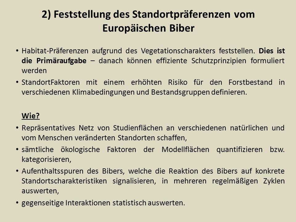 2) Feststellung des Standortpräferenzen vom Europäischen Biber Habitat-Präferenzen aufgrund des Vegetationscharakters feststellen. Dies ist die Primär