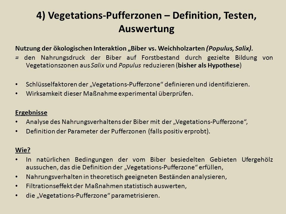 """4) Vegetations-Pufferzonen – Definition, Testen, Auswertung Nutzung der ökologischen Interaktion """"Biber vs. Weichholzarten (Populus, Salix). = den Nah"""