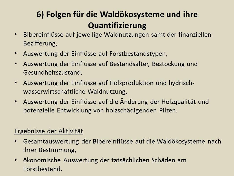 6) Folgen für die Waldökosysteme und ihre Quantifizierung Bibereinflüsse auf jeweilige Waldnutzungen samt der finanziellen Bezifferung, Auswertung der