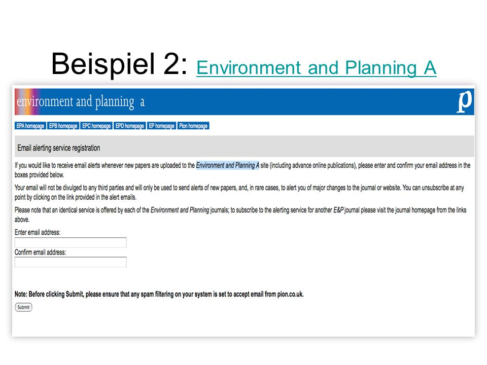 Beispiel 2: Environment and Planning A Environment and Planning A
