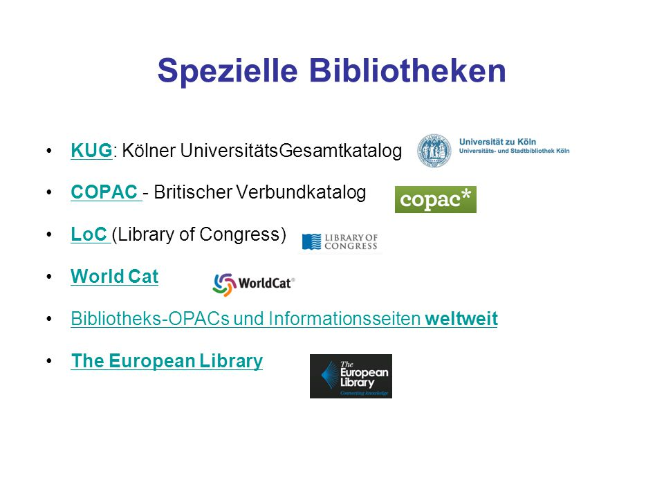 gleichzeitige Suche in den Beständen von 30 der 47 europäischen Nationalbibliotheken Die vorhandenen Materialien liegen sowohl digital (Bücher, Poster, Tonaufnahmen, Videos etc.) als auch nicht-digital vor.