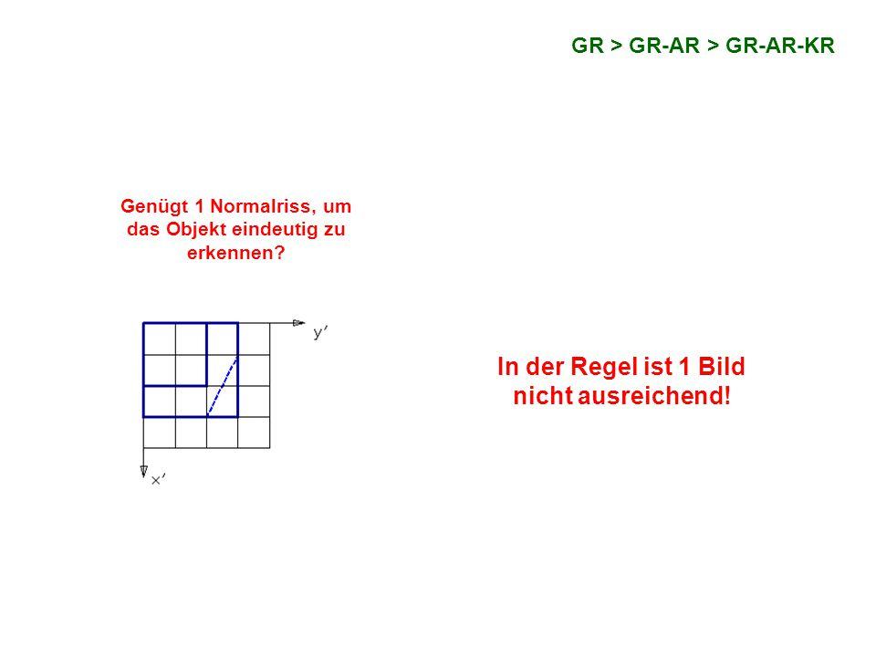 GR > GR-AR > GR-AR-KR Lösung: Der Würfelteil wird zusätzlich auf eine vertikale Ebene (zB yz-Ebene) normal projiziert.