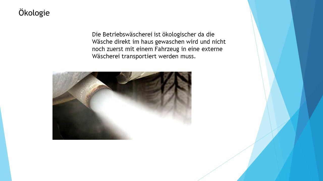 Die Betriebswäscherei ist ökologischer da die Wäsche direkt im haus gewaschen wird und nicht noch zuerst mit einem Fahrzeug in eine externe Wäscherei